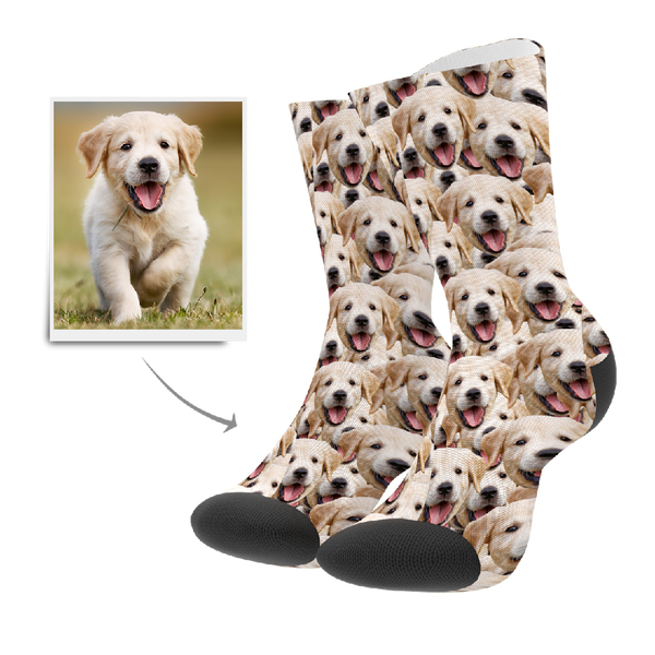 Custom Face Mash Dog Socks With Your Text - FaceSocksEU