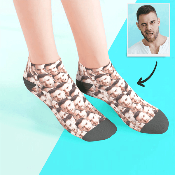 Custom Low cut Ankle Socks Face Mash Summer Photo Socks