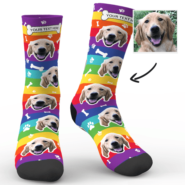 Custom Rainbow Socks Dog With Your Text  - FaceSocksEU