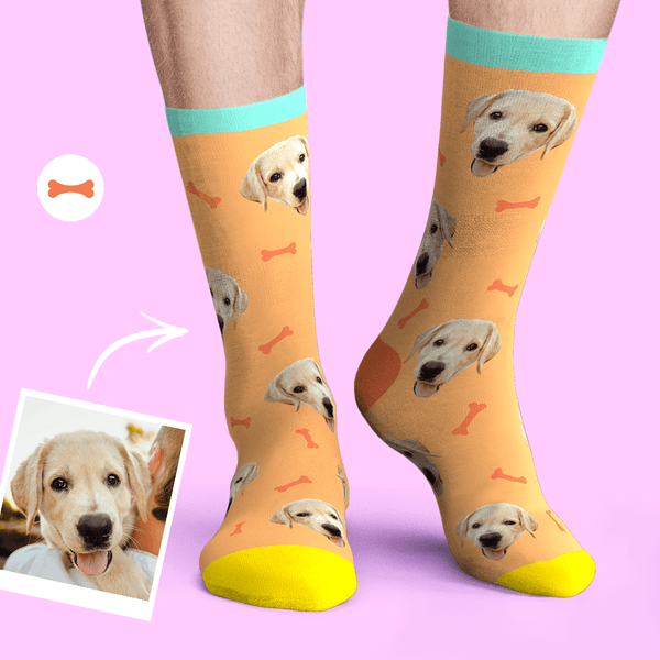 Custom Personalized Face Socks Photo Pet Dog - Bone And Footprint