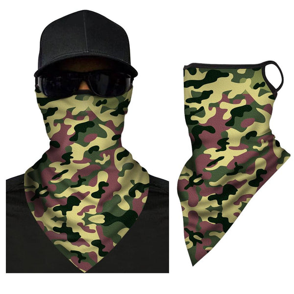 Neck Gaiter Sport Face Covering Triangle Bandana With Ear Loop - FaceSocksEU