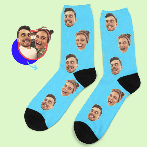 Custom Face Socks With Your Saying Colorful