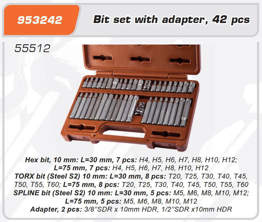 Bit set 30, 75 mm TORX Т20-Т60 SPLINE М5-М12 HEX 4-12mm Adaptors 3/8, 1/2 42 pcs
