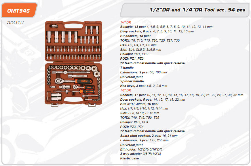 Tool Set 94 Piece Mechanics, Garage & Household Tools OMT94S Ombra
