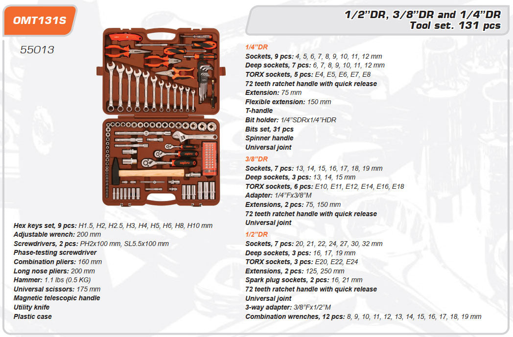 Tool set 131 Piece OMT131S Mechanics, Garage & Household Tools Ombra