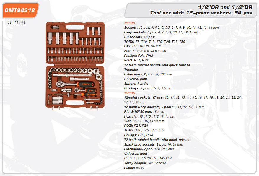 Tool set 94 Piece Mechanics, Garage & Household Tools OMT94S12 Ombra