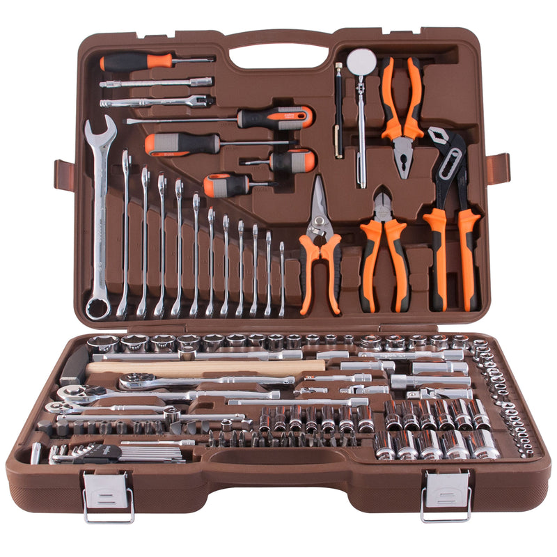 "1/2"", 3/8"" and 1/4"" Tool Set 8-22 mm 150 Piece Mechanics, Garage & Household Tools DIY OMT150S Ombra"