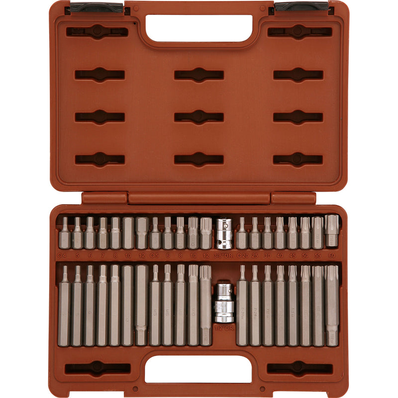 "Bit set 30, 75 mm., TORX Т20-Т60, SPLINE М5-М12, HEX 4-12mm., adaptors 3/8""DR 1/2""DR, 42 pcs 53242 Ombra Tools"