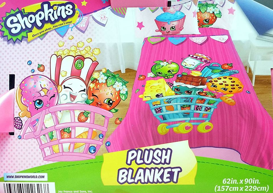 Shopkins Plush Blanket 60in x 80in & Plush Throw 60in x 46in - New in Packaging
