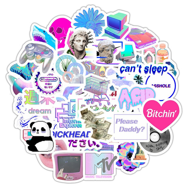 Vaporwave Stickers (50pcs) - Epic Stickerz