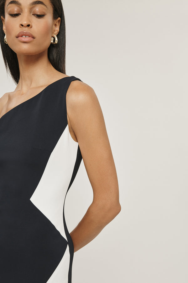 CUSHNIE Navy/White Stretch Cady One Shoulder Dress