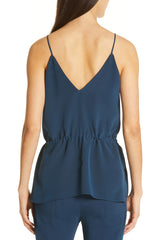 Ocean V Neck Tank with Drawstring at Waist · Final Sale