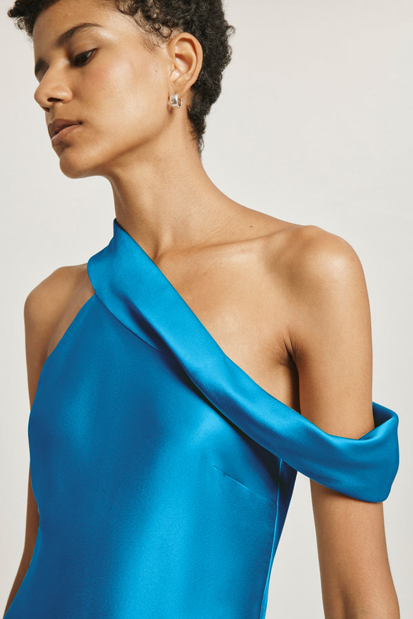 Cerulean Silk Charmeuse Off the Shoulder Slip Dress