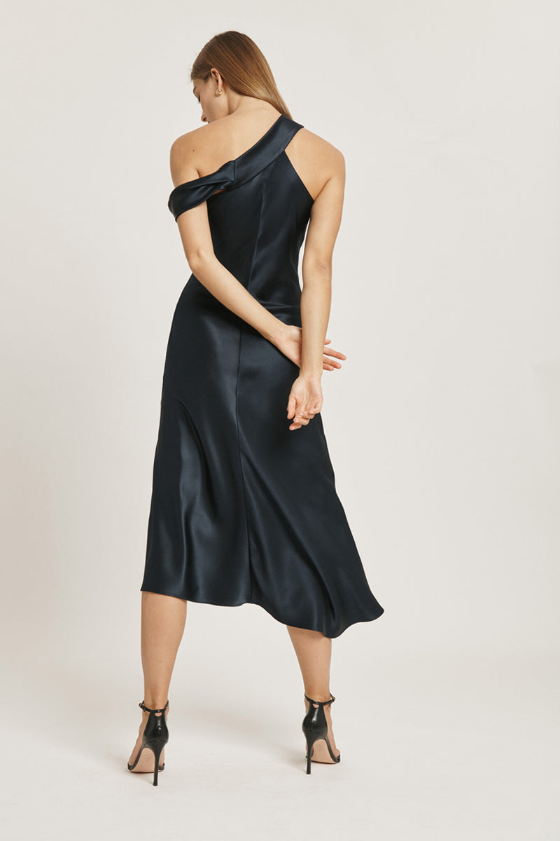 CUSHNIE Navy Silk Charmeuse Off the Shoulder Slip Dress