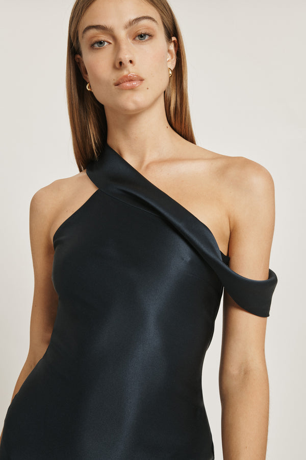 Navy Silk Charmeuse Off the Shoulder Slip Dress
