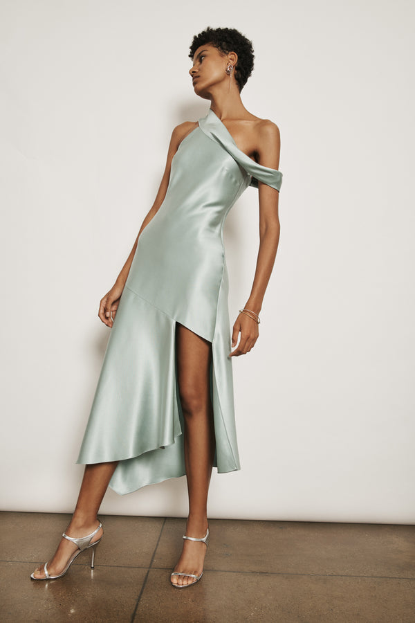 Sea Green Silk Charmeuse Off the Shoulder Slip Dress