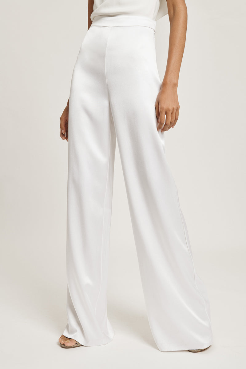 CUSHNIE White Silk Charmeuse High Waisted Wide Leg Pant