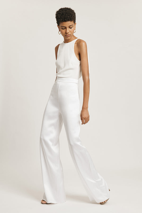White Silk Charmeuse High Waisted Wide Leg Pant