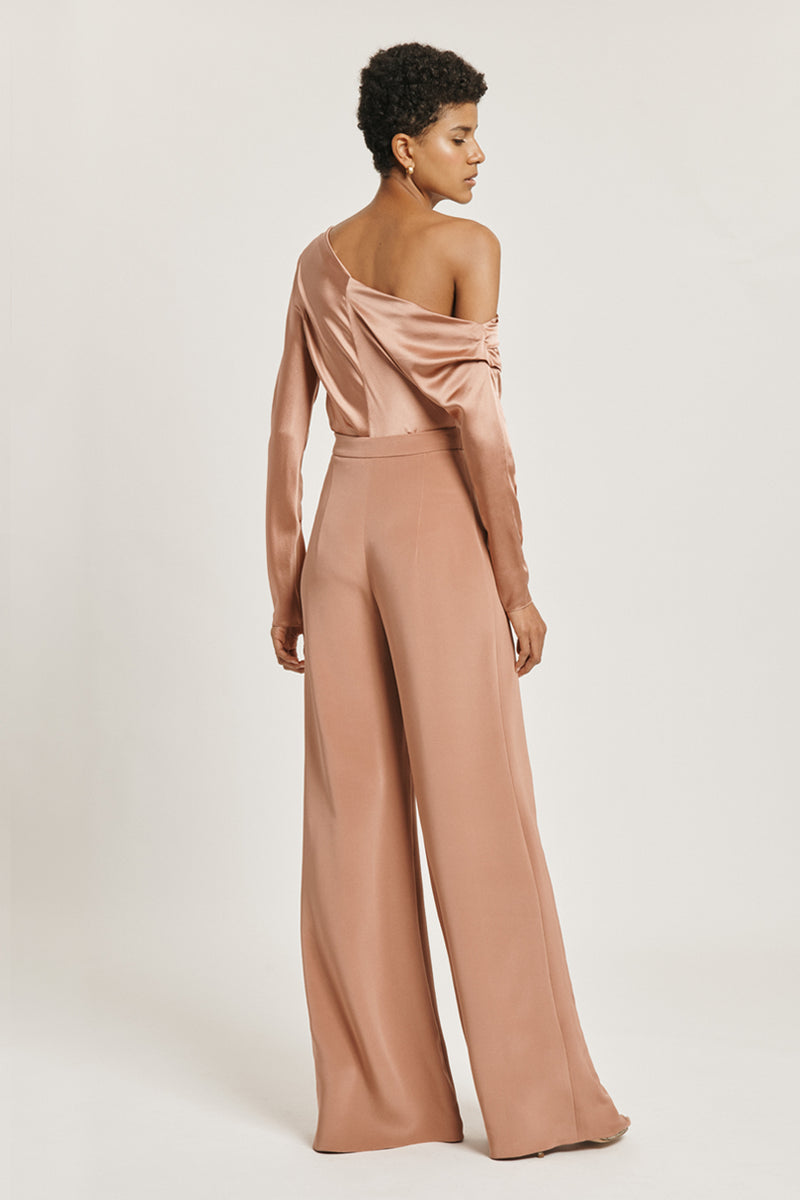 CUSHNIE Rose Gold Silk High Waisted Wide Leg Pant