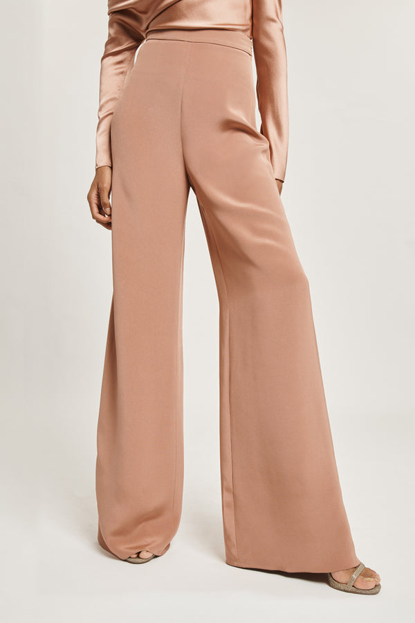 Rose Gold Silk High Waisted Wide Leg Pant