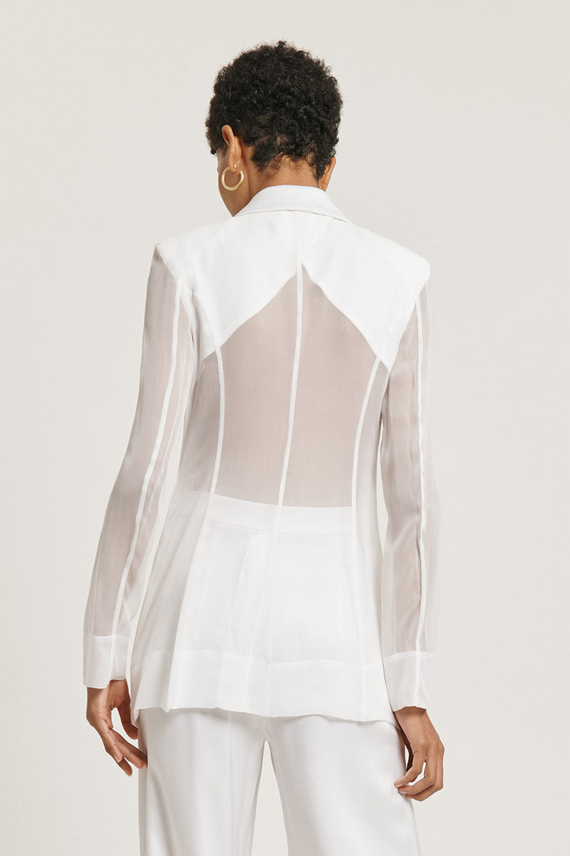 CUSHNIE White Silk Charmeuse Blazer with Chiffon Sleeves