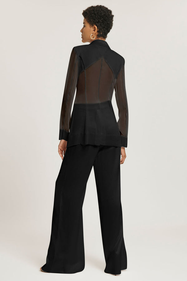 CUSHNIE Black Silk Charmeuse Blazer with Chiffon Sleeves