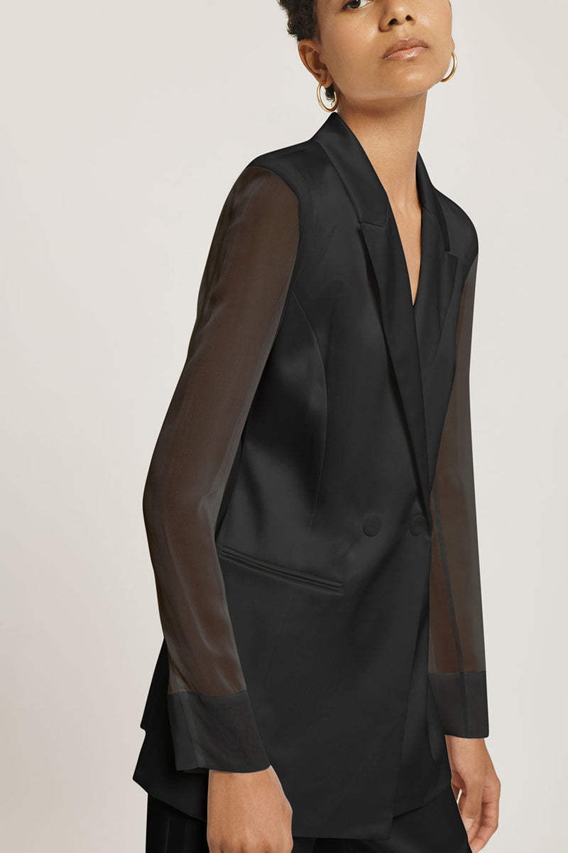 Black Silk Charmeuse Blazer with Chiffon Sleeves