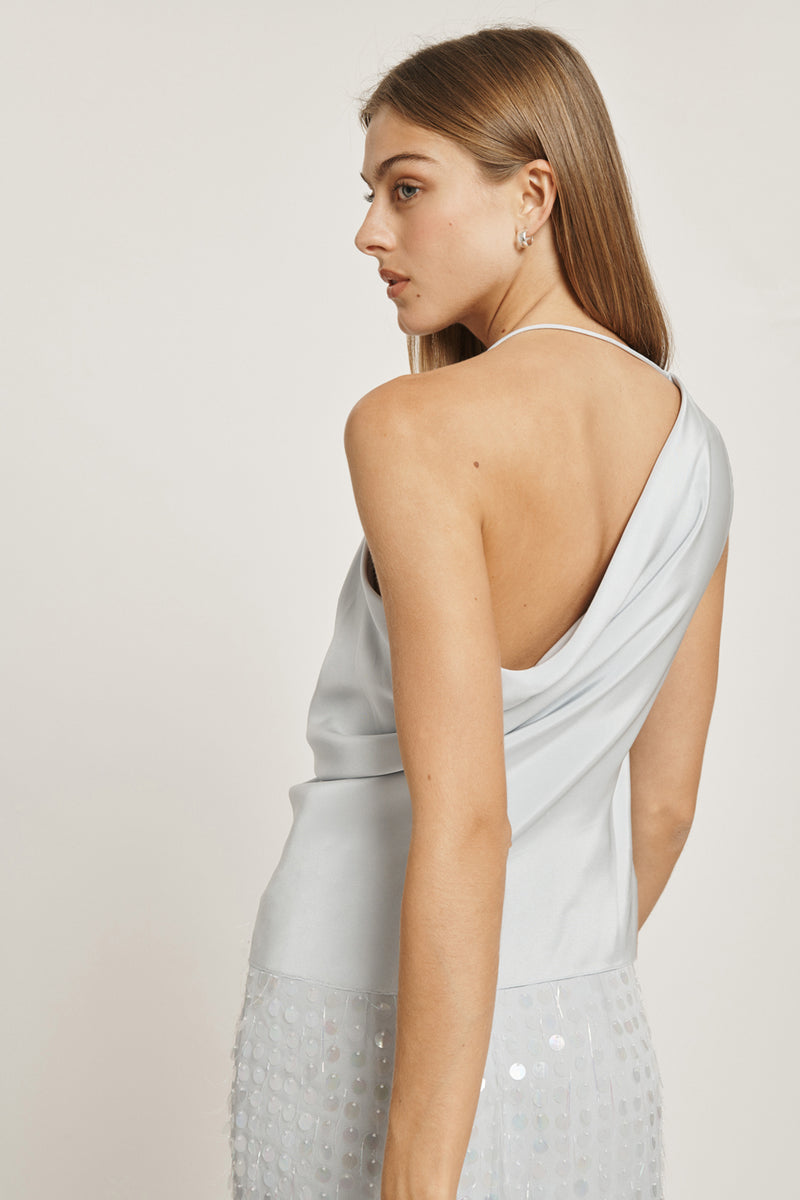 Pearl Blue Silk Crepe Asymmetrical Draped Tank