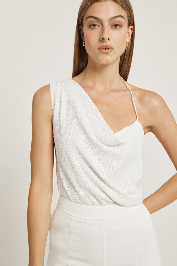 CUSHNIE White Paillette Asymmetrical Draped Tank