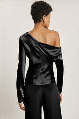 Black Silk Charmeuse Long Sleeved One Shoulder Top