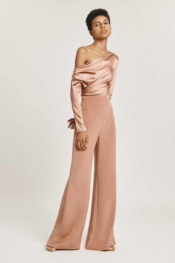 Rose Gold Silk Charmeuse Long Sleeved One Shoulder Top