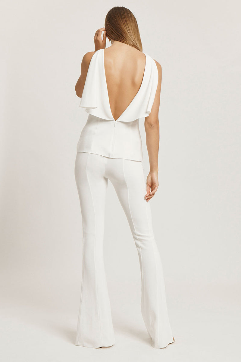 White Liquid Cady Top with Draped Open Back