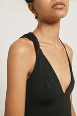 CUSHNIE Black Matte Jersey Bodysuit with Twisted Detail