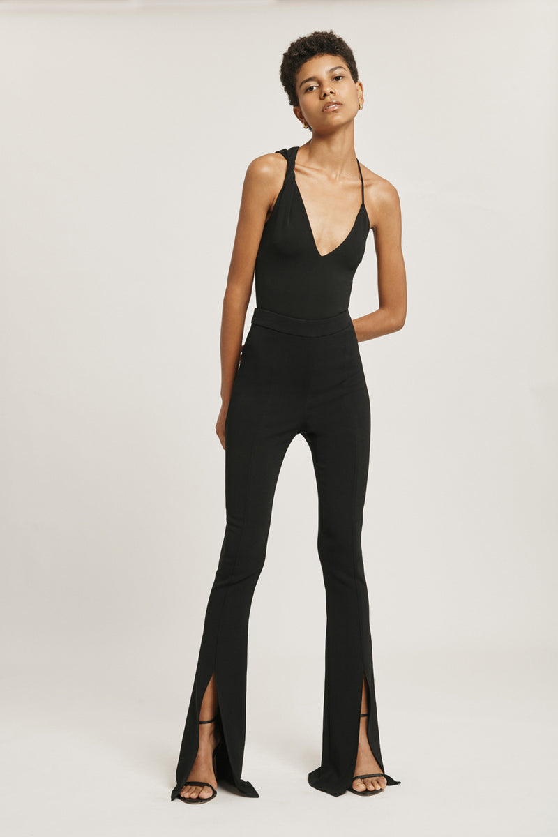Black Matte Jersey Bodysuit with Twisted Detail