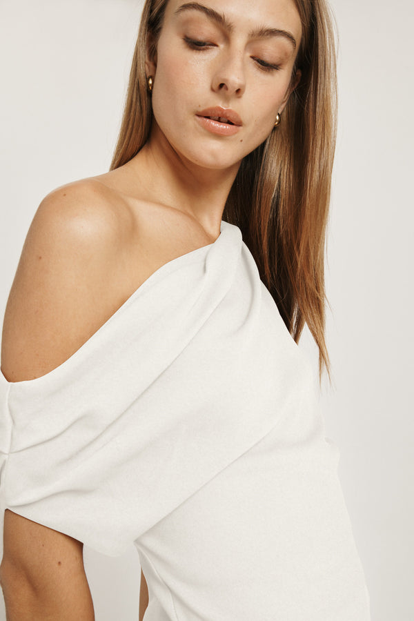 White Cady One Shoulder Draped Tunic with Asymmetrical Hem