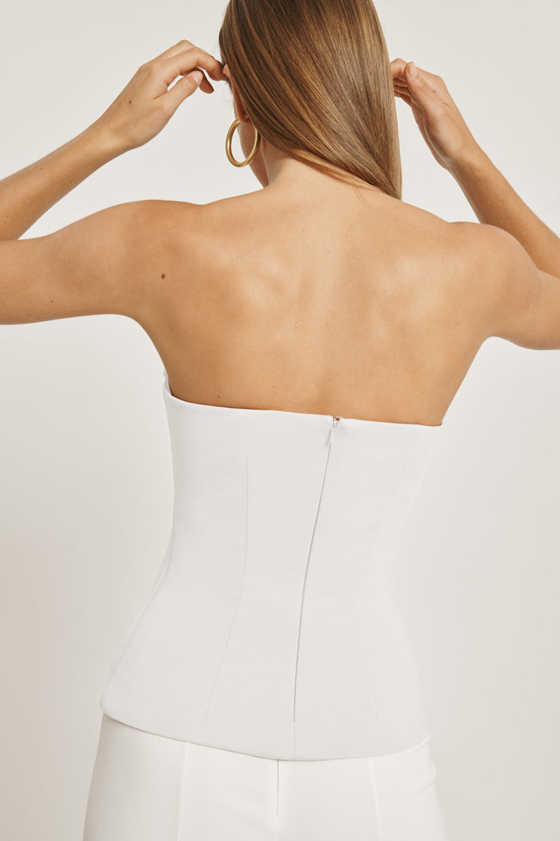 CUSHNIE White Stretch Power Viscose Strapless Corset Top