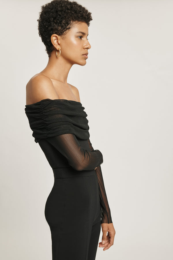 Black Off the Shoulder Top with Silk Tulle Overlay