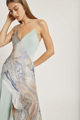 CUSHNIE Water Marble Print V Neck Slip Dress
