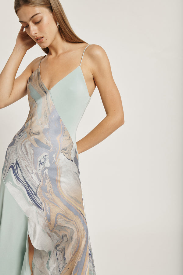 Water Marble Print V Neck Slip Dress