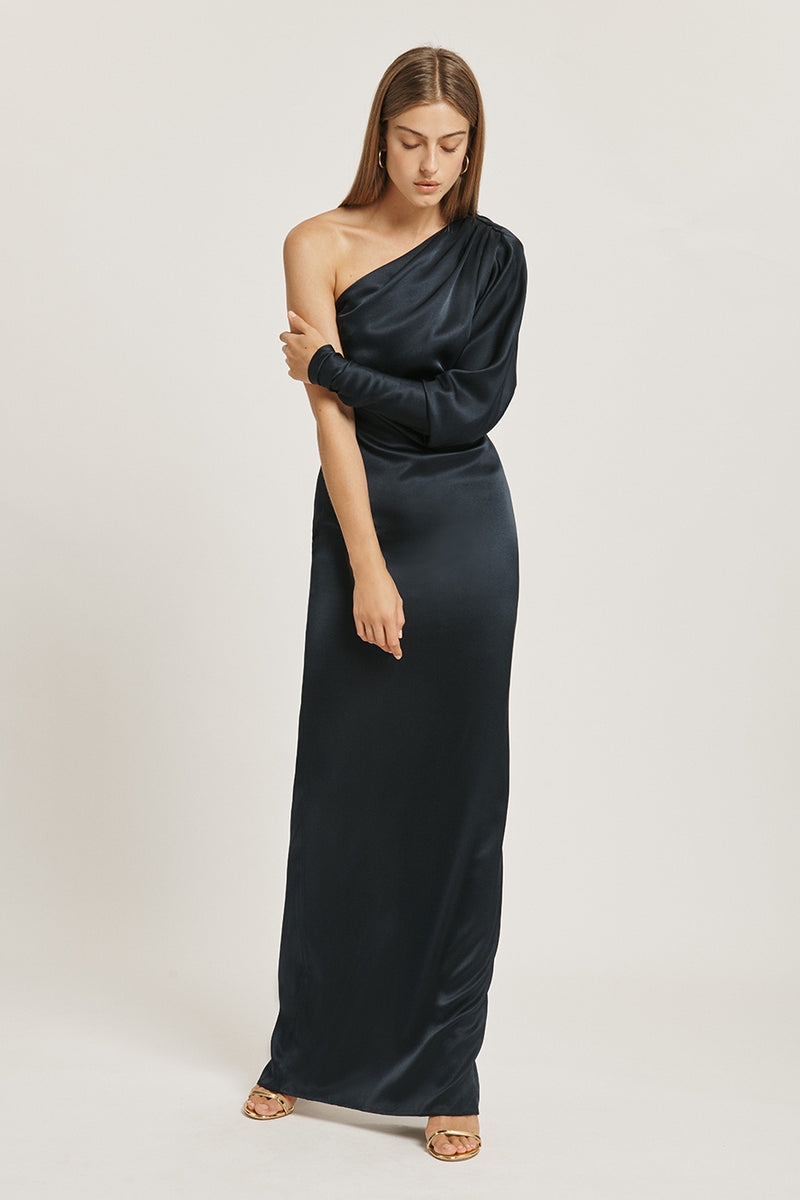 Navy Silk Charmeuse One Shoulder Column Gown