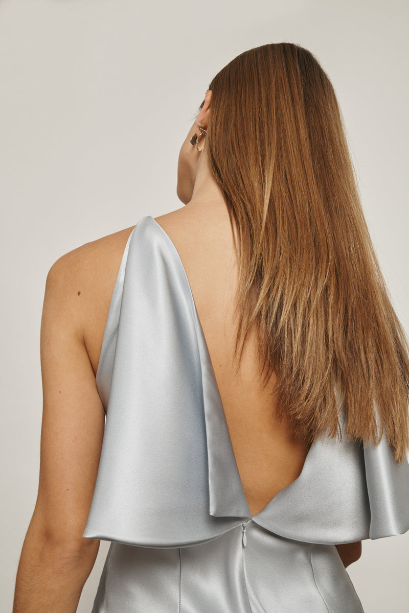 Pearl Blue Silk Charmeuse Open Back Pencil Dress