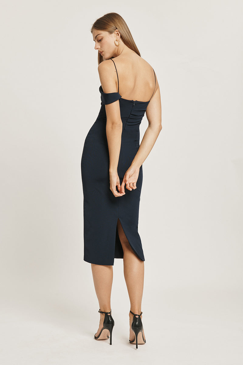 CUSHNIE Navy Stretch Power Viscose Pencil Dress