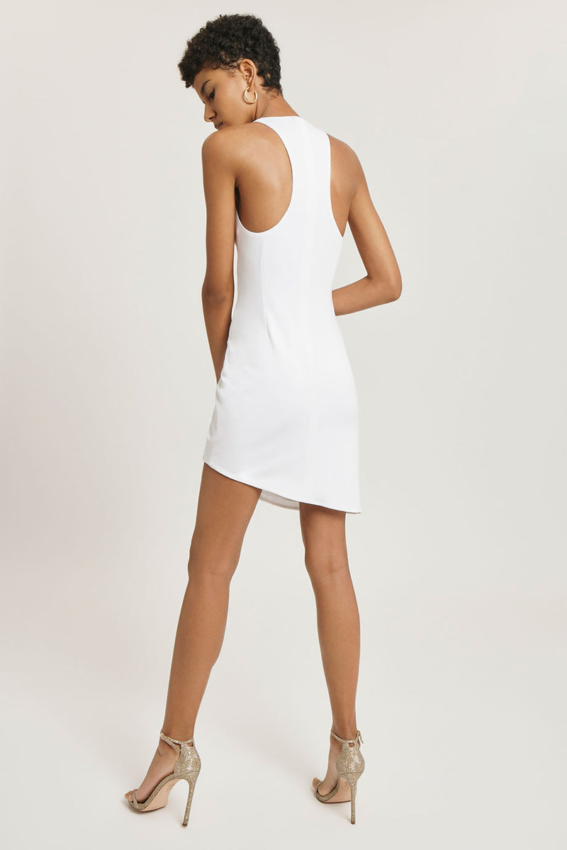 White Sleeveless Crepe Mini Dress