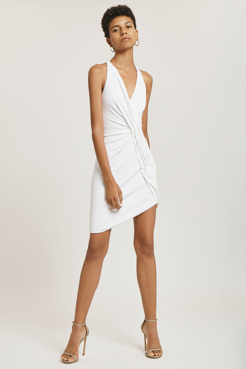 CUSHNIE White Sleeveless Crepe Mini Dress