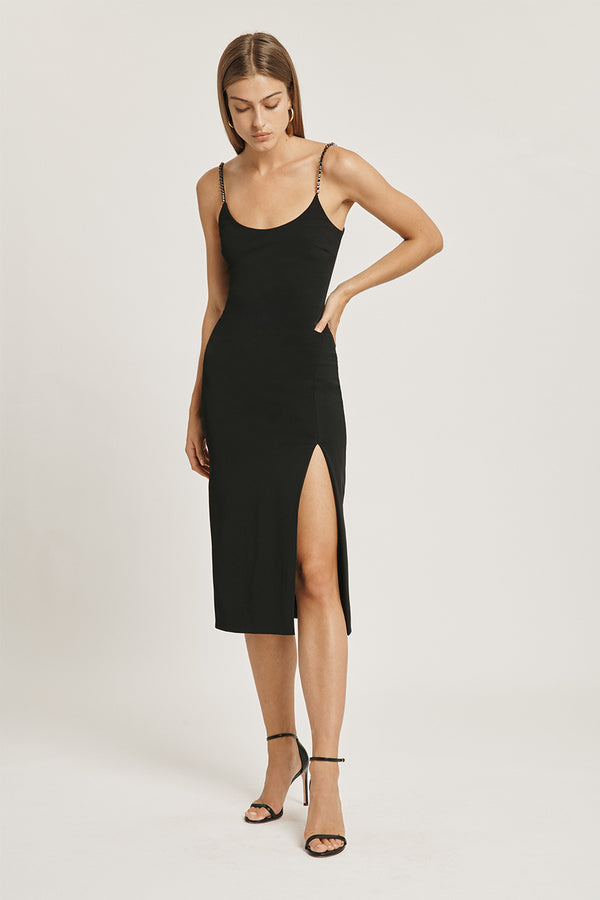 Black Stretch Power Viscose Pencil Dress with Crystal Chain Straps