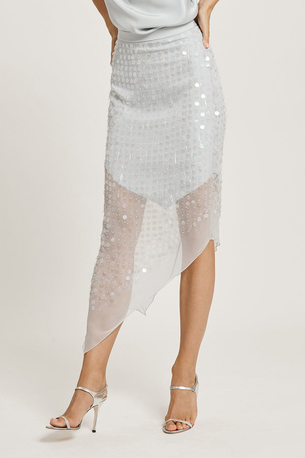 Pearl Blue High Waisted Skirt with Iridescent Paillette