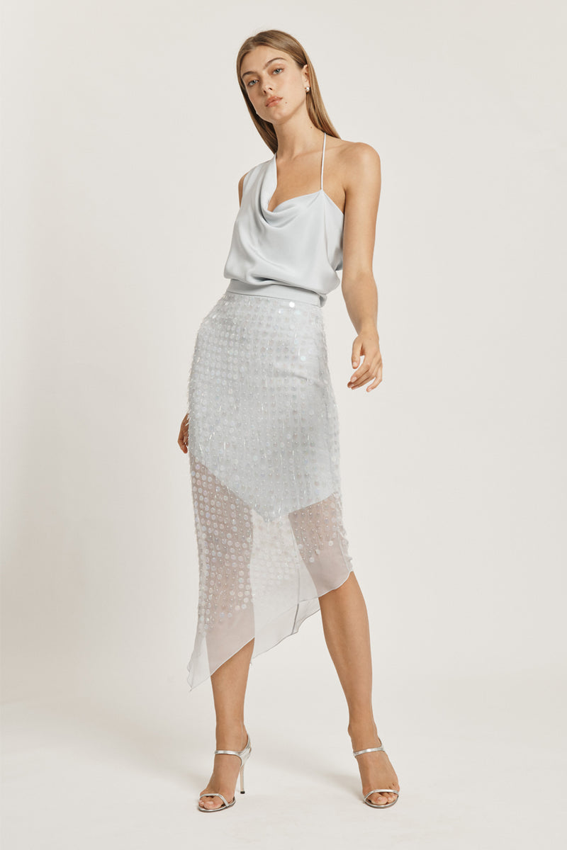 CUSHNIE Pearl Blue High Waisted Skirt with Iridescent Paillette