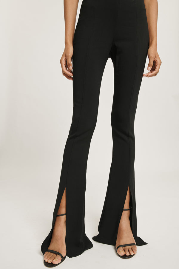 Black Liquid Cady High Waisted Flare Pant with Slits