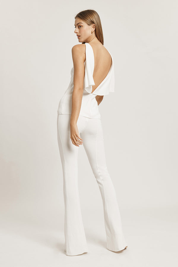 White Liquid Cady High Waisted Flare Pant with Slits