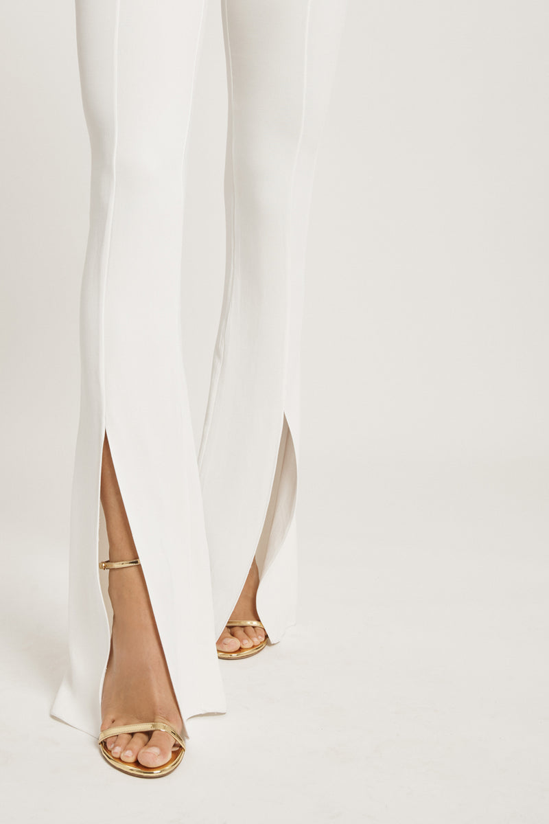 CUSHNIE White Liquid Cady High Waisted Flare Pant with Slits